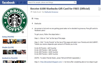 free giftcard facebook scam