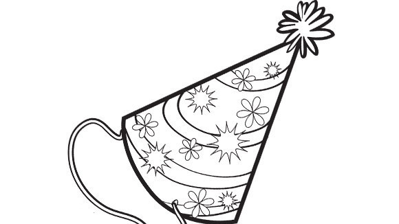 party hat coloring page - party hat