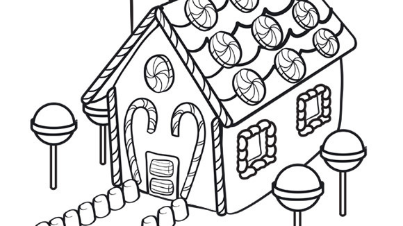 Christmas series gingerbread house for Gingerbread house coloring pages