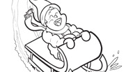 Winter Coloring Page: Sledding