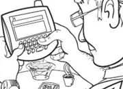 Grandfather sending a text message coloring page