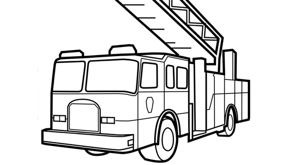 Transportation Fire Truck Coloring Page