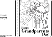 Happy Grandparents Day greeting card coloring page