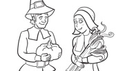 Pilgrims Thanksgiving Coloring Page