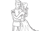 Princess Dancing with Prince | Princess Coloring Page