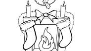 Christmas Coloring Page: Christmas Mantel