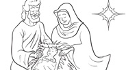 Christmas Coloring Page: Manger Scene