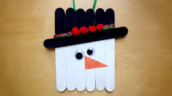 Popsicle Stick Snowman Ornament Grandparentscom