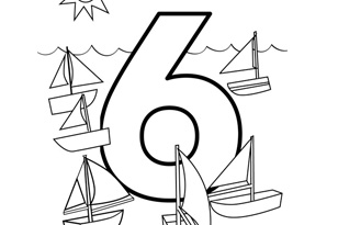 number six coloring page