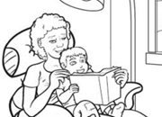 Reading with Grandma Coloring Page
