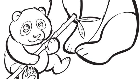 Baby animals series baby panda for Panda bear coloring pages printable