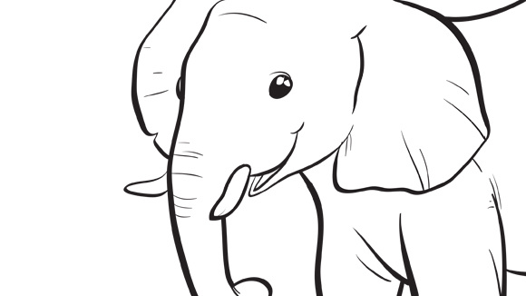 Baby Elephant Trunk Up Coloring