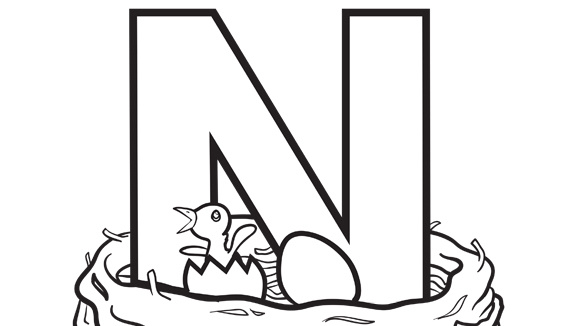 n is for nest help your grandkids practice the alphabet with this free printable coloring page - N Coloring Pages