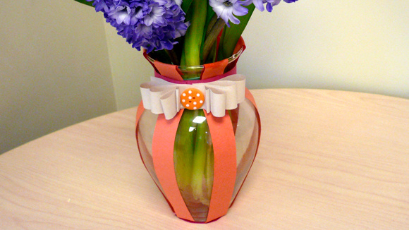 Decorate a vase and fill it with beautiful blooms.