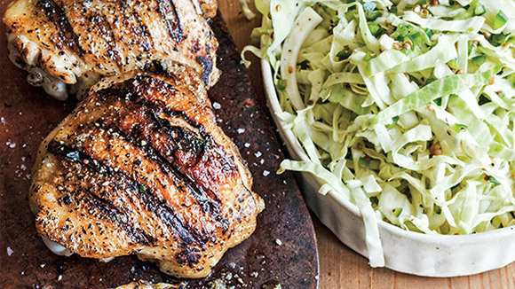 Grilled Chicken Thighs with Chunky Peach-Bourbon Barbecue Sauce and ...