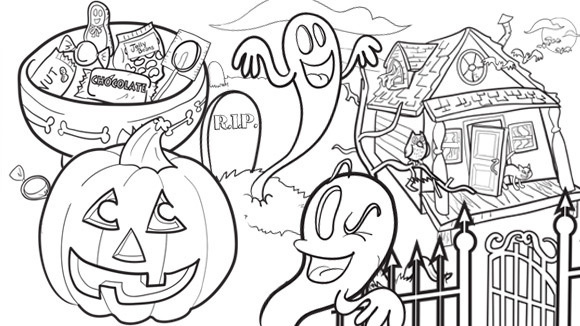 Celebrate halloween by coloring these pictures together