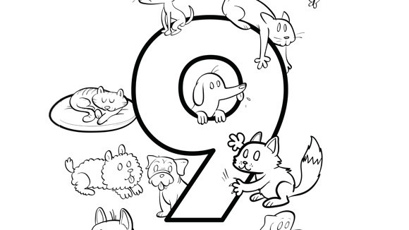 number 9 coloring pages. Nine kittens and puppies  for every crayon in the box Help your grandkids practice numbers with this free printable coloring page Number Series Grandparents com