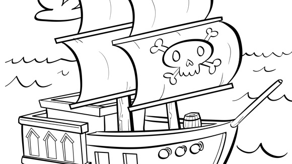 have a pirate ship full of fun with this free printable coloring page