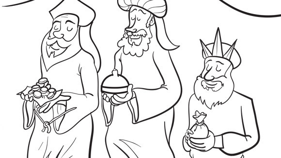 three kings travel across the desert share this holiday themed coloring page with your grandkids