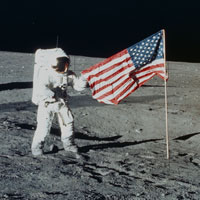 apollo 12 moon landing us flag