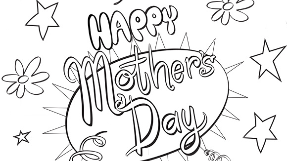 grandkids can color this free printable card for mothers day - Mothers Day Coloring Pages