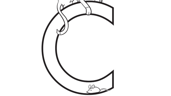 Alphabet series c cat for C for cat coloring page