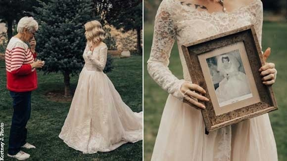 Bride Honors Grandmother By Wearing Her 55-Year-Old Wedding Dress ...