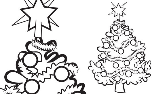 A Festive Tree With Christmas Lights Share This Holiday Themed Coloring Page Your Grandkids