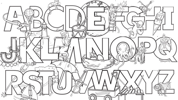 nate bear - Alphabet Coloring Pages