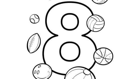 eight balls and so many sports to choose from help your grandkids practice numbers with this free printable coloring page - Number 8 Coloring Page