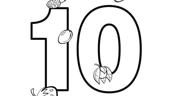 Number series ten for Ten coloring page