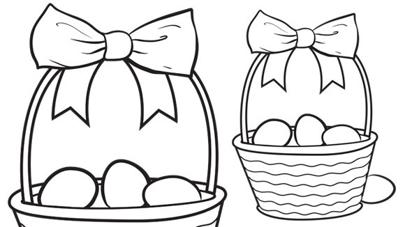 colorful eggs in a pretty basket print this coloring page