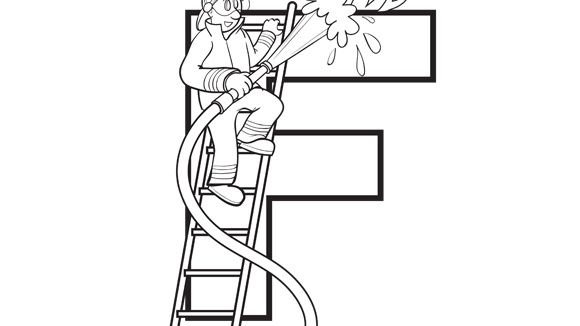 firefighter coloring pages preschool alphabet - photo#31