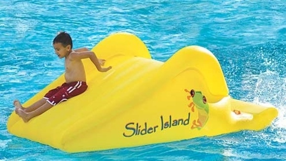 for use in above ground and built in pools and even lakes slider island an inflatable water slide can add a few more hours of fun to pool time - Inflatable Pool Slide