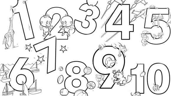 Numbers for Number 5 coloring page